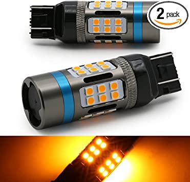 Syneticusa 7443 Error Free Canbus Amber/Yellow LED Turn Signal Light Bulbs No Hyper Flash All in One Built In Resistors