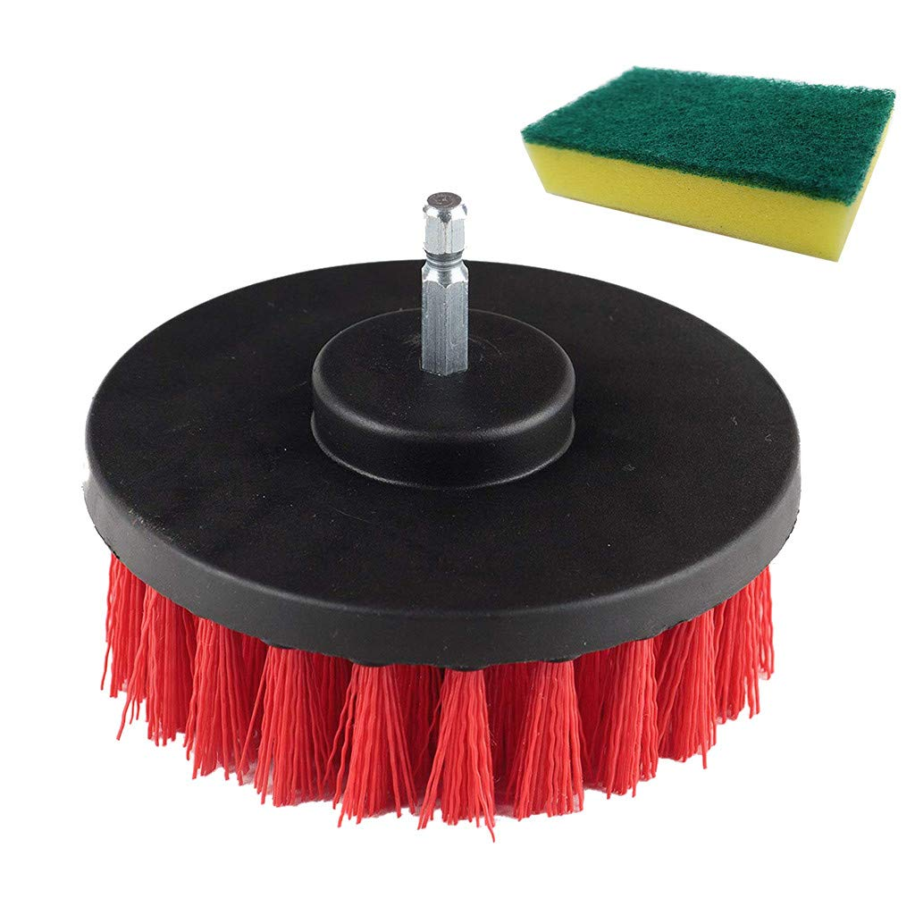 ResidentD Useful Electric Drill Brush Grout Power Scrubber Bathroom Surfaces Tub, Shower, Tile and Grout All Purpose Clean Tool (Red)