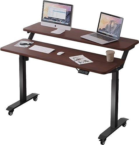 Best home office desk: Lecowisd 47 Electric Standing Desk Height Adjustable Llifting Frame Brown Double Desktop