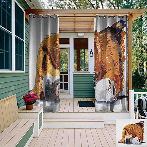 door Curtain Pole, Dog Sleeping Canine Friendly Animal Companion Cute Puppy Love Illustration, for Balcony W96 x L108 Inch Cinnamon Brown White ()