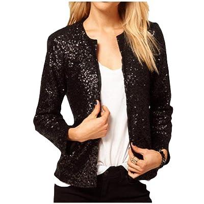 Abetteric Womens Slim Fit Sequin Glitter Open Front Blazer Suit Jacket