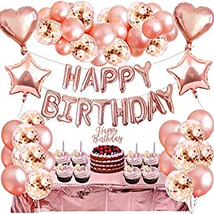 Best Epic Trends 61x4SzR-ZHL._SS300_ 2021 Upgrade 60PCS Rose Gold Party Decorations Kit Girls Birthday Party Supplies with Happy Birthday Banners Rose Gold…