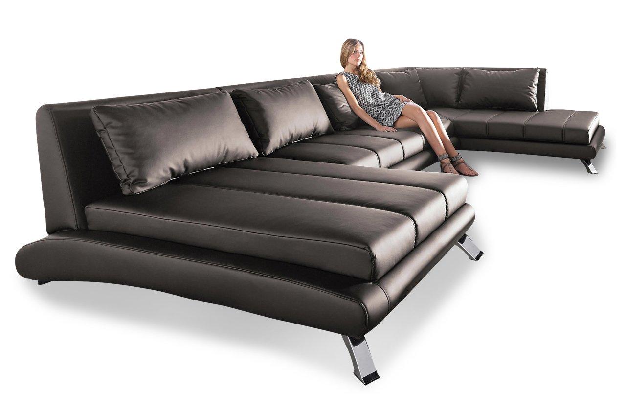 Sofa Wohnlandschaft Swing2 Braun Luxus Kunstleder Schlamm Gunstig