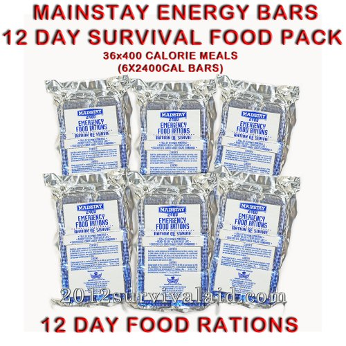 Mainstay Emergency Food 2400-cal Bars (Pack of 6) 12 Day Rations (36 Servings - Bar 2400 Calorie Food