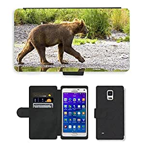 Hot Style Cell Phone Card Slot PU Leather Wallet Case // M00116614 Grizzly Bear Cub Walking Stream // Samsung Galaxy Note 4 IV