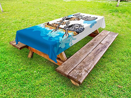 Moose Outdoor Tablecloth by Ambesonne, American Animals Boat Beaver Friend Canoe River Fun Native Characters Cartoon, Decorative Washable Picnic Table Cloth, 58 X 84 Inches, Blue White (Pik Boat)