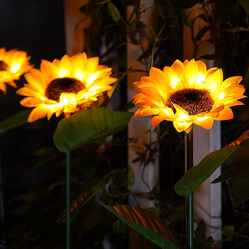 AMZOO Sunflower Garden Solar Lights Decor Outdoor Yard,2PCS 26'' Decorative Lights for Backyard Patio Porch