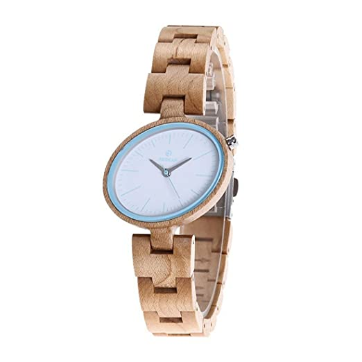 Reloj de madera, mujer especial diseño vestido causal hecho a mano cuarzo analógico Relojes: Amazon.es: Relojes