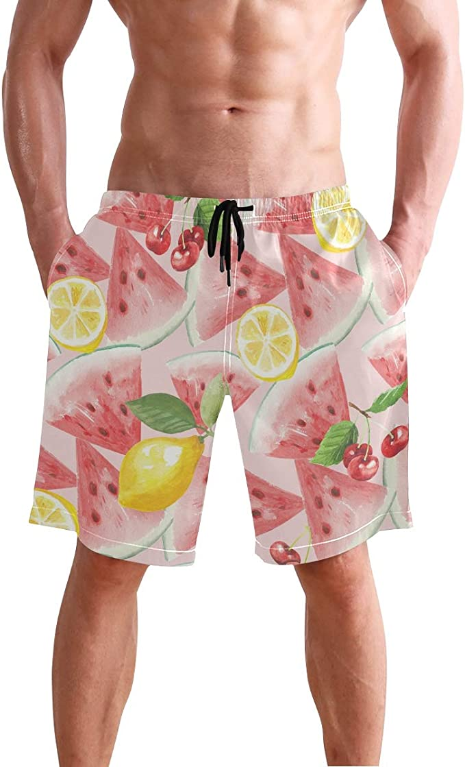 Cherry Mens Board Shorts Bathing Suits Swimming Trunks Beach Pants with Mesh Lining Swimwear Bathing