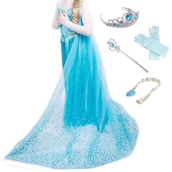 LOBTY Vestido de Princesa Elsa Reina Disfraz Elsa Vestido ...