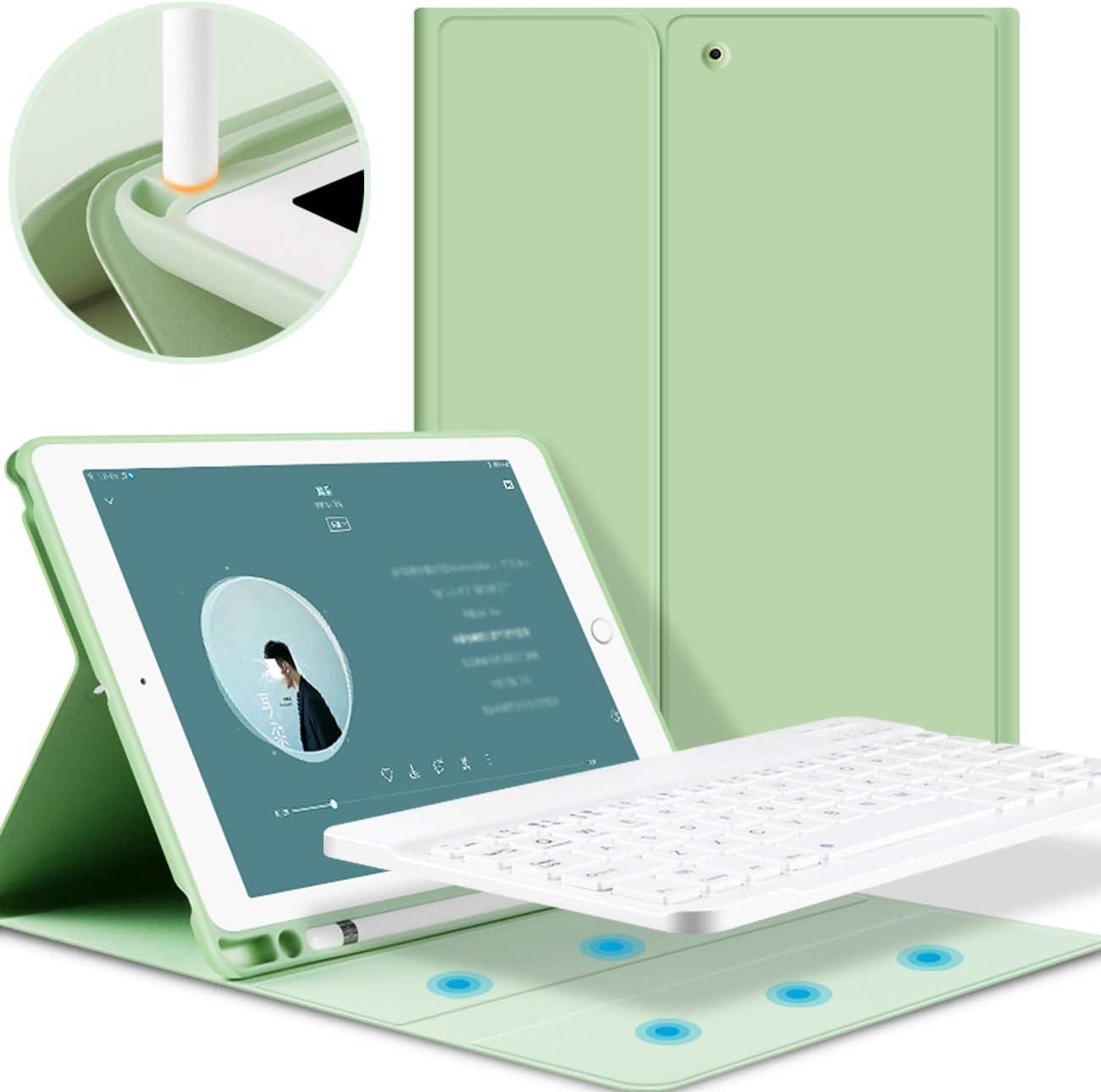 KenKe iPad Keyboard Case for iPad 2018/2017 /iPad Air 2/ Air 1 with Pencil Holder Auto Sleep/Wake with Detachable Bluetooth Keyboard Cover iPad 5th / 6th Generation 9.7 inch iPad air case -Green