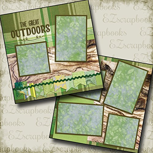 GREAT OUTDOORS - Premade Scrapbook Pages - EZ Layout 2095 (12x12 Page Layout Scrapbooking)