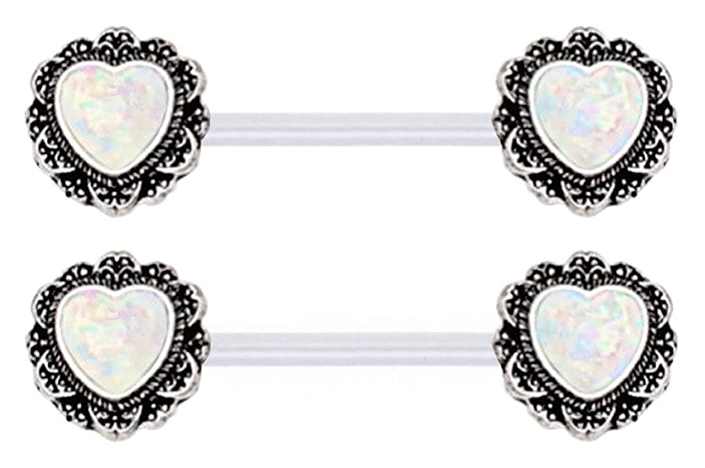 Pair of Sparkling synthetic White Glitter fire Opal Filigree Heart ends Nipple Flexible Bioplastic rings
