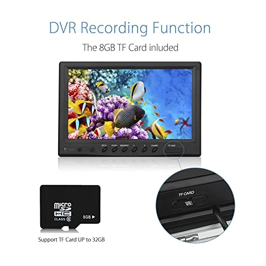 Eyoyo portátil 9 pulgadas monitor LCD Buscador de peces pesca HD 1000TVL cámara impermeable submarina DVR Video Cam: Amazon.es: Electrónica