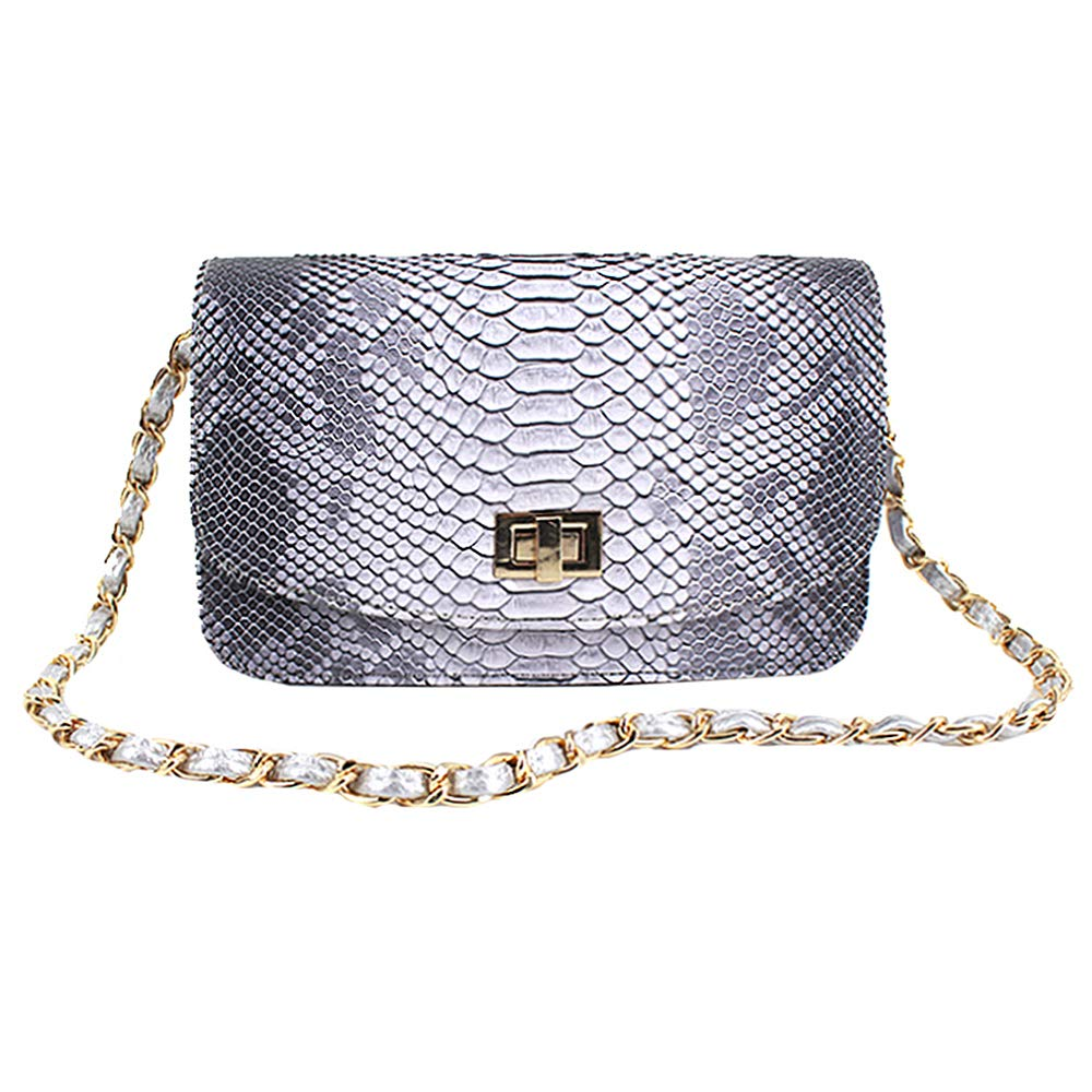 Aisa Women Snakeskin Pattern Handbag Retro Square Shoulder Bag with Metal Chain Grey