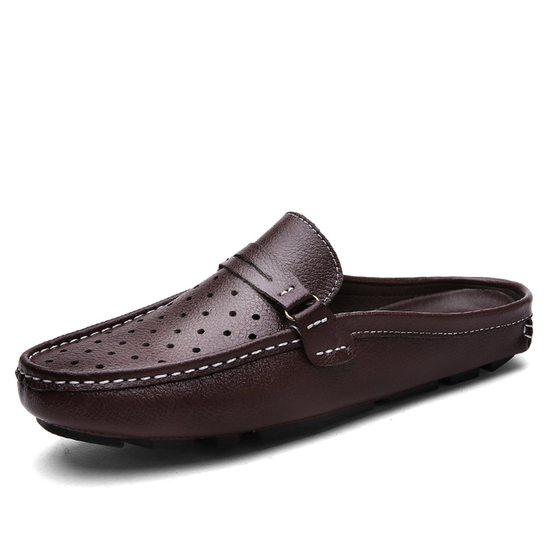Go Tour Men's Comfortable Soft Scuff Leather Slippers Slip-on Loafters Shoes Brown 44 by Go Tour (Image #1)
