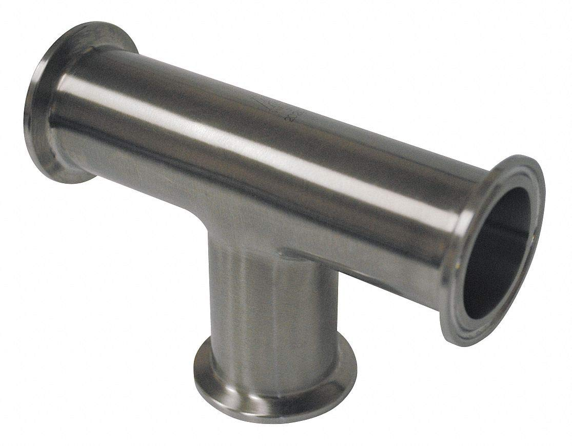 T304 Stainless Steel Equal Tee, Clamp Connection Type, 1'' Tube Size