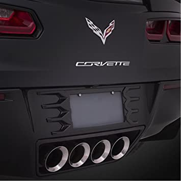 Chrome License Plate Frames w//  Aluminum Emblems C6 Corvette 2005-2013 Blk