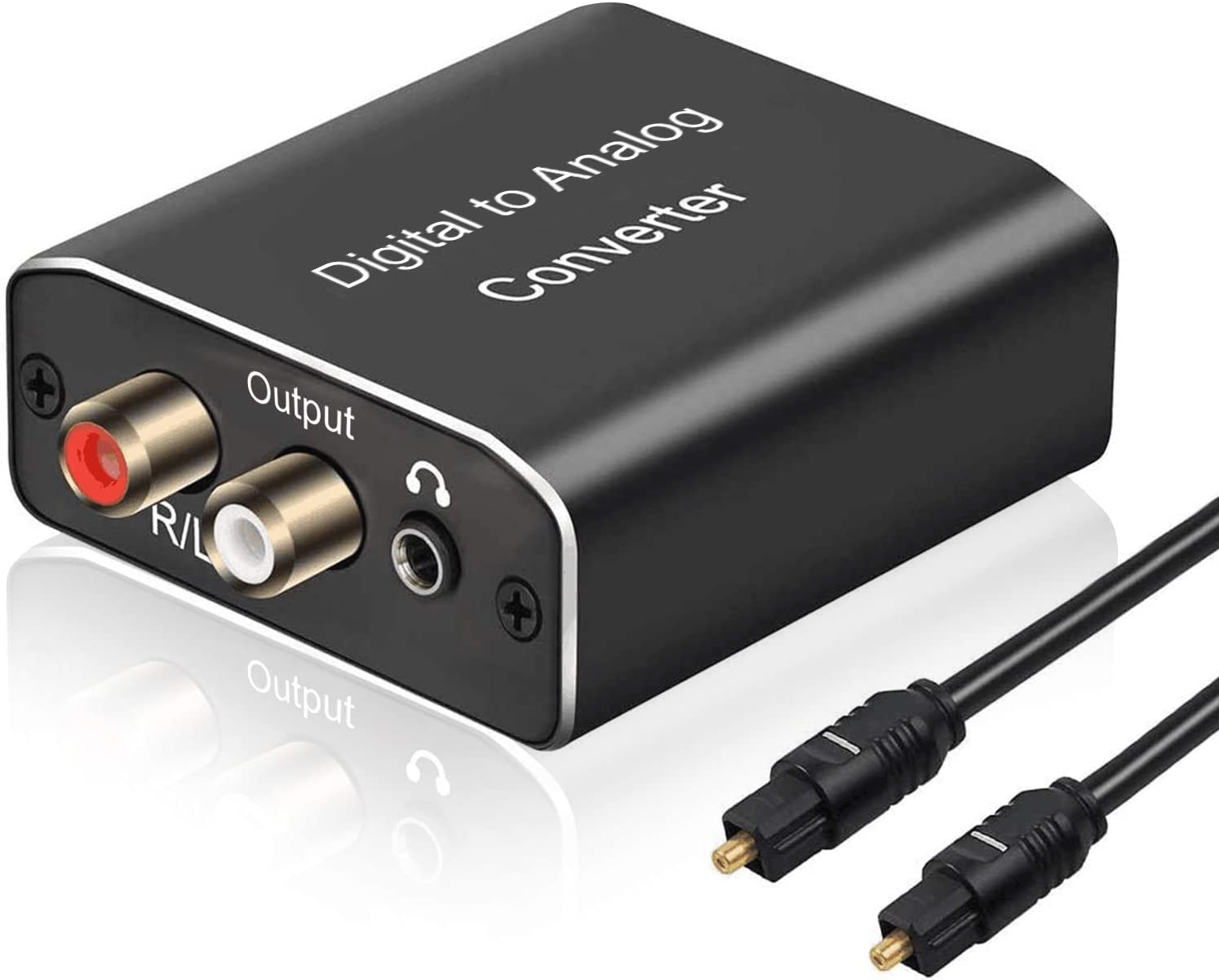 Digital to Analog Audio Converter, Hdiwousp 192 kHz DAC Digital Coaxial and Optical Toslink to Analog 3.5mm Jack and RCA (L/R) Stereo Audio Adapter with Optical Cable for HDTV Home Cinema, Aluminum