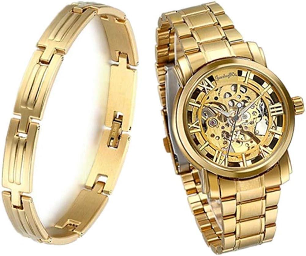 JewelryWe - Reloj de pulsera para hombre - Movimiento mecánico - Cuadrante color oro - Manecillas color oro - Pulsera de acero inoxidable color oro