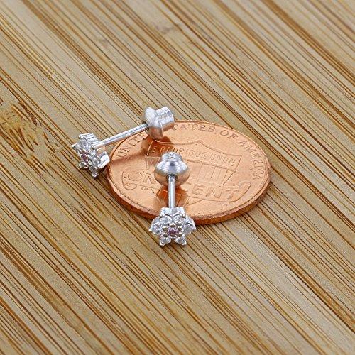 c089eac31cc4 In Season Jewelry - 925 Plata de Ley Flor Circonita Rosa y Clara Aretes con  Cierre