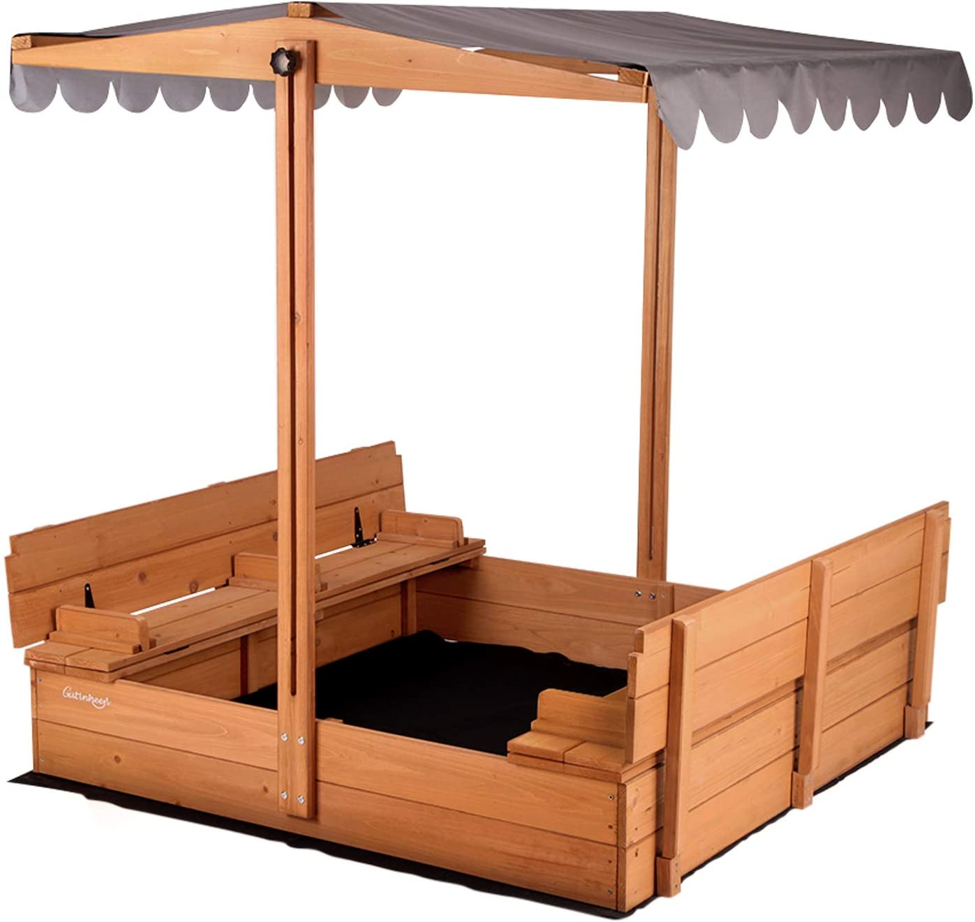 Amazon Com Aivituvin Kids Sand Boxes With Canopy Sandboxes With Covers Foldable Bench Seats Children Outdoor Wooden Playset Upgrade Retractable Roof 47x47inch Toys Games