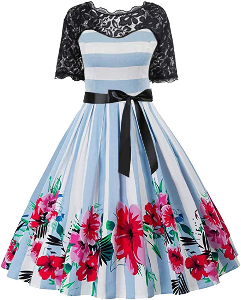 iNoDoZ Women Short Sleeve Lace Patchwork Musical Notes Print Vintage Flare Party Dress
