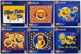 Set of 6 Collectible Pepsi Emoji 100pc Puzzles! 10''x8'' - Keep Calm and Party on! Fun, Spunky Emoji Puzzles Perfect for Gifts, or Fun with the Family!