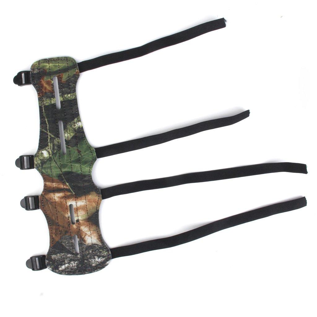 MagiDeal Protection de Poignet et Avant-bras 4-Sangles pour Tir /à larc Camouflage Vert