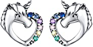 Presentski Unicorn Stud Earrings 925 Sterling Silver Hypoallergenic Piercing Earrings Studs Cute Animal Christmas Birthday Gi