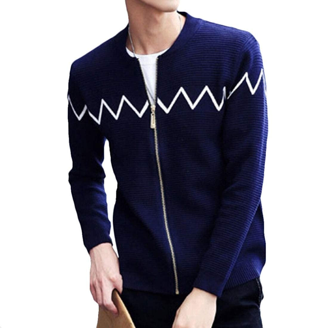 Keaac Mens Casual Slim Full Zip Thick Knitted Cardigans Sweaters