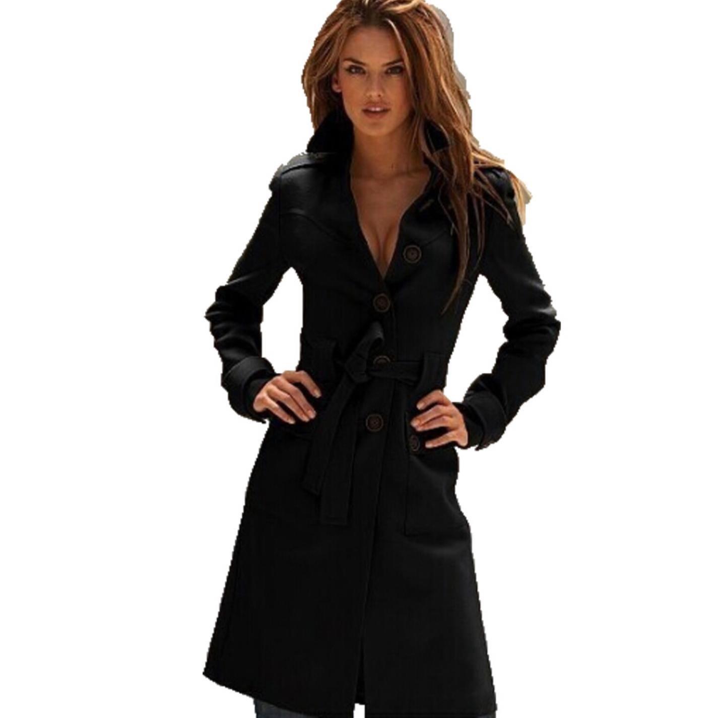 Black ZNaKa Women's Wool Blend Overcoat Single Breasted Long Trench Coat