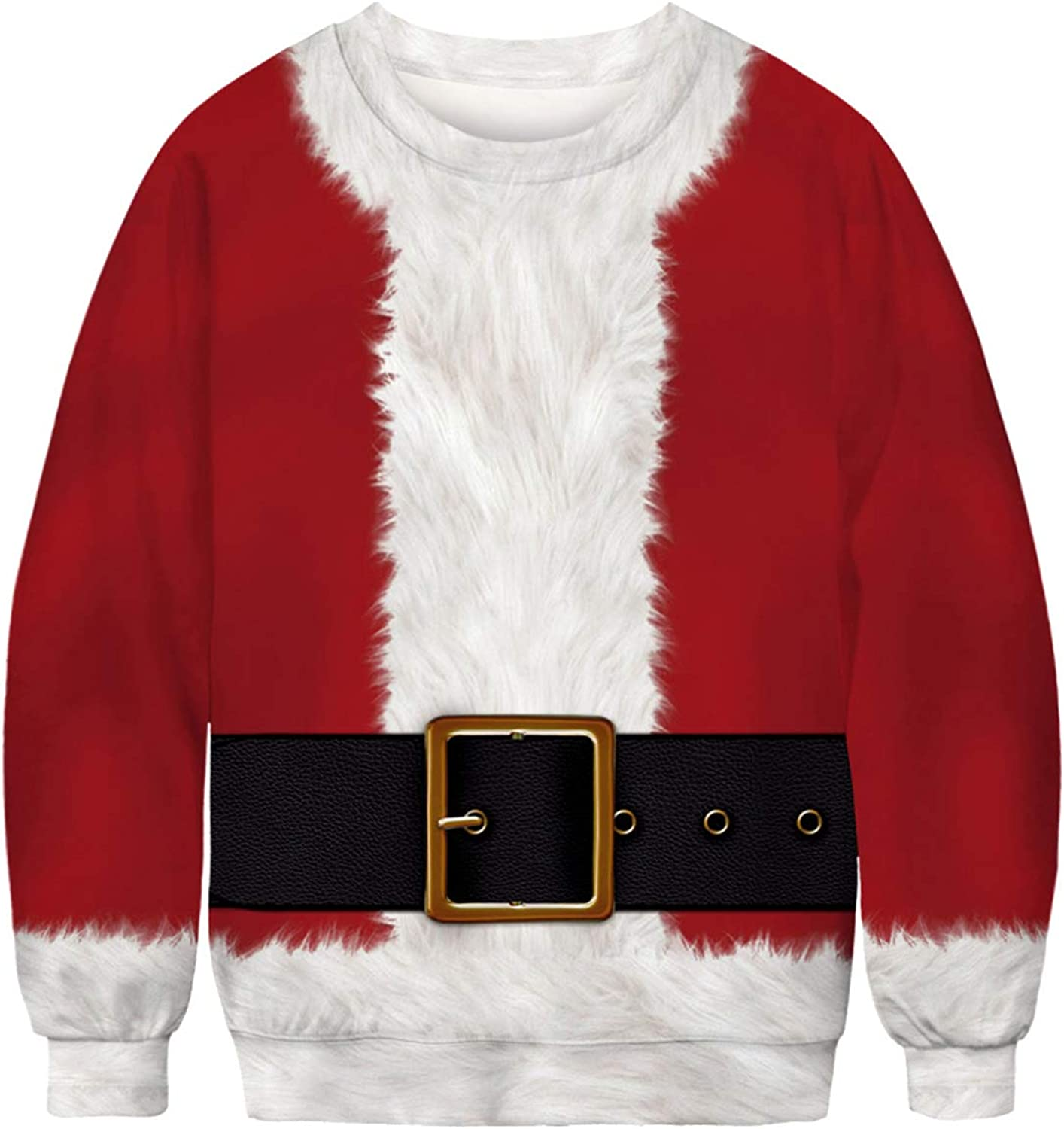 PIZOFF Unisex Ugly Christmas Sweatshirts 3D Printing Long Sleeve Xmas Pullovers