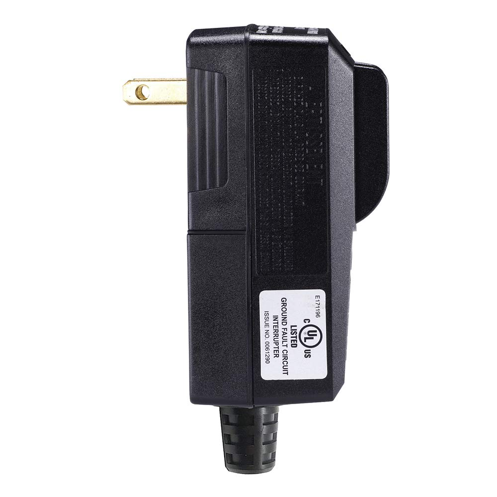 WELLONG GFCI Plug Replacement 2 Prong Electrical Cord End Male GFI Waterproof Circuit Breaker 15 Amp Black