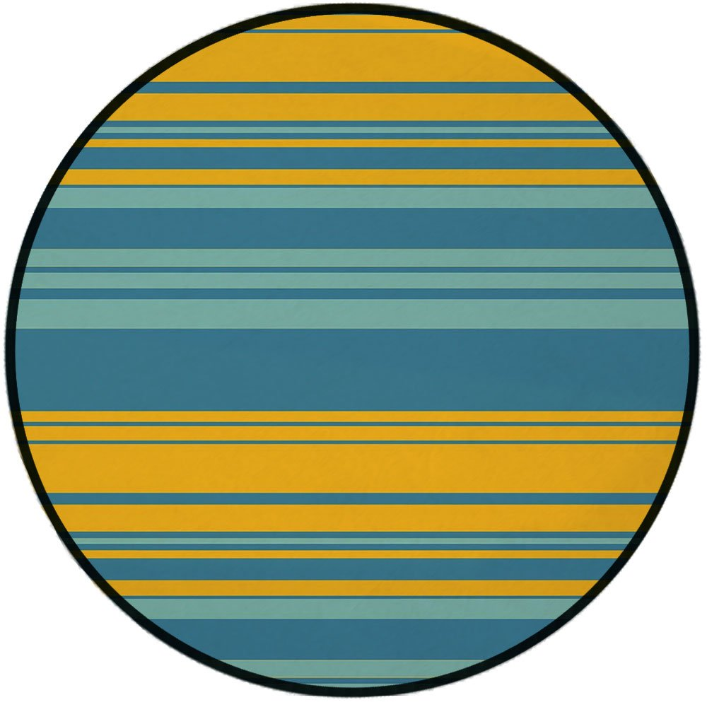 Printing Round Rug,Yellow and Blue,Horizontal Abstract Color Stripes Lines Simplistic Modern Art Print Mat Non-Slip Soft Entrance Mat Door Floor Rug Area Rug For Chair Living Room,Teal Turquoise