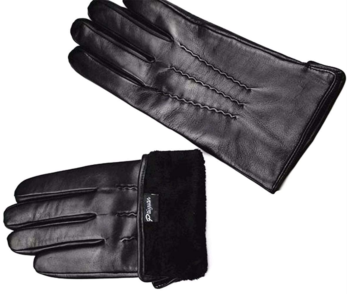 New Guantes Leather Gloves Mens Sheepskin Water Stripes Style High-grade Imported Sheep Skin Sub-gloves Velvet Lining