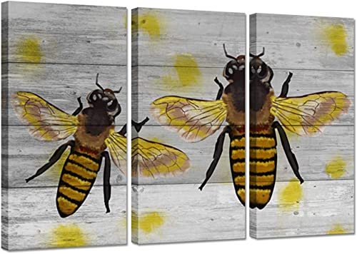 iHAPPYWALL Modern Home Decor 3 Pieces Animal Canvas Wall Art Insect Yellow Honey Bee on Wood Background The Picture Print on Canvas Stretched and Framed For House Or Garden Decoration Ready To Hang