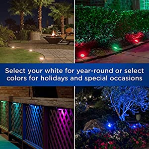 Enbrighten Seasons LED Landscape Lights (50ft.), Selectable White & Color Changing, 6 Lifetime Pucks, Wireless Remote, Outdoor, Commercial Grade, Weatherproof, Spotlight, Garden, Path Light, 41012