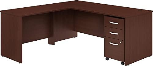 Bush Business Furniture Studio C L Shaped Desk with Mobile File Cabinet and 42W Return, 72W x 30D, Harvest Cherry