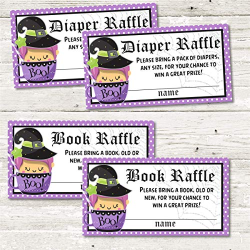 Baby Witch Halloween Baby Shower Diaper Raffle Tickets - Set of 30, Halloween Baby Shower Book Raffle Baby Shower Tickets, Set of 30, Halloween Baby Shower Supplies ()