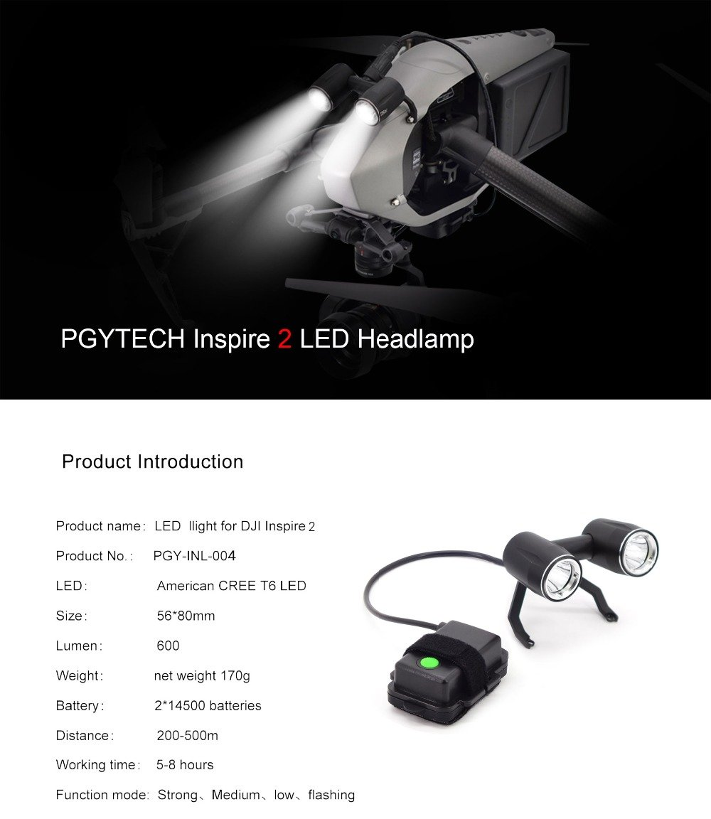 XSD MOEDL Headlamp LED light Super Brigh Searchlight Drone Flash Lights Warning DJI inspire 2 Accessories drone FPV Quadcopter