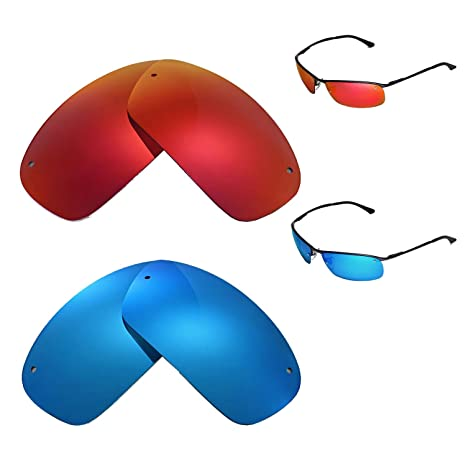 5f55dd011f Amazon.com  Walleva Polarized Fire Red + Ice Blue Replacement Lenses for Ray -Ban RB3183 63mm Sunglasses  Sports   Outdoors