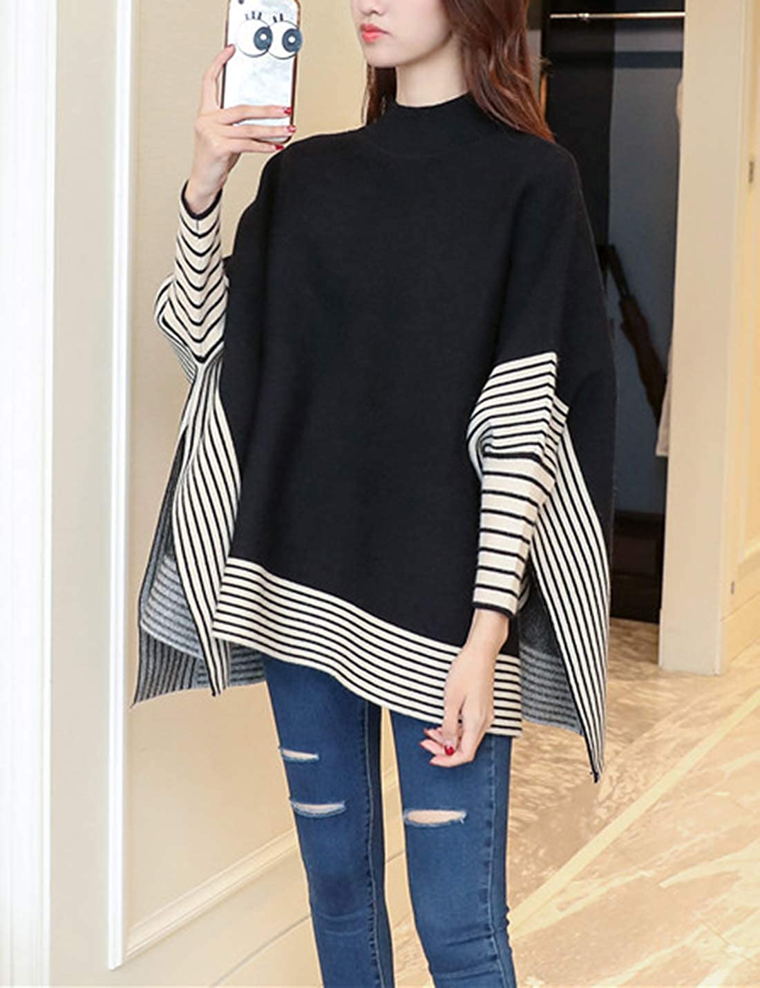 Gihuo Womens Warm Thick Striped Turtleneck Knit Poncho Pullover Sweater Cloak