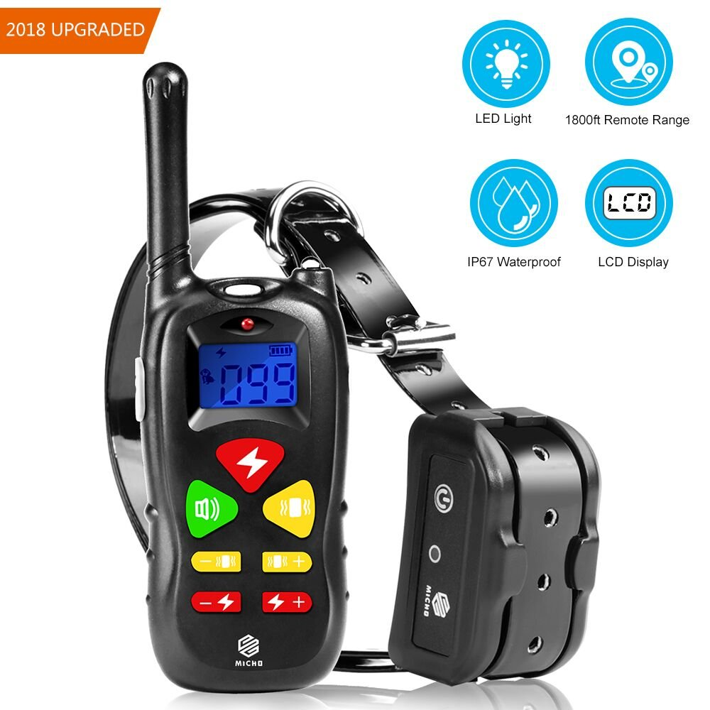 Micho 2018 Newest Dog Training Collar with Portable Remote, 500 Yards Electric Repellent Dogs, 100% Waterproof and Rechargeable Controller with Beep, Vibration, and Light MS-TC10