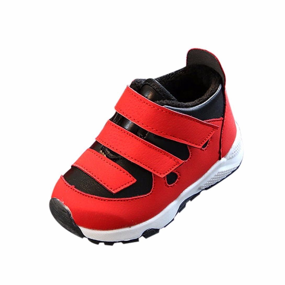 Sneaker Chaud Mode Basket Basses Bébé, QinMM Mouvement Peluche Factice Enfants Filles Garçons Sport Solide Occasionnel Chaussures