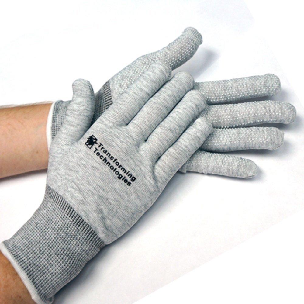 StaticTek ESD Inspection Work Gloves | Conductive Carbon Fiber | Lightweight, Breathable | Anti-Static Safety for Electronics | Men, Women | Dot-Covered Palm | Nylon, Medium, 12 Pairs | TT_GL4502D