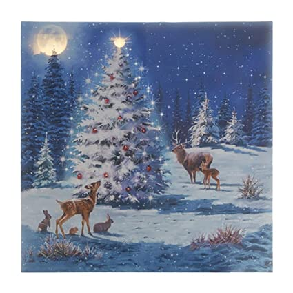 raz imports led canvas print lighted picture of woodland animals around a decorated christmas tree - Lighted Animals Christmas Decoration