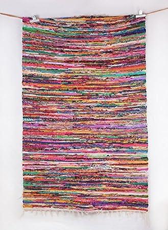 sari de algodón tejidas alfombra de trapo mano yoga mat Vintage ...