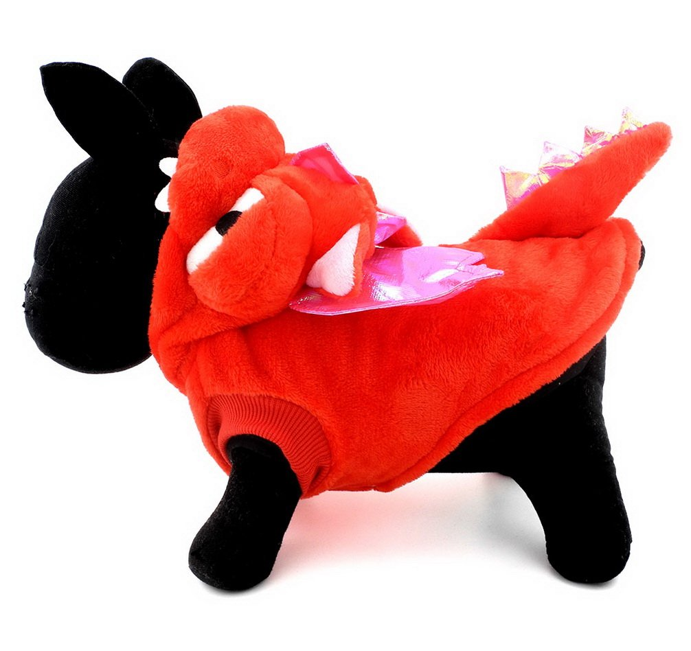 Ranphy Pet Dog Cat Halloween Costume Dragon Costume for Dogs Animal Fancy Coat Outfits Dog Apparel (Under 22lbs) Red L