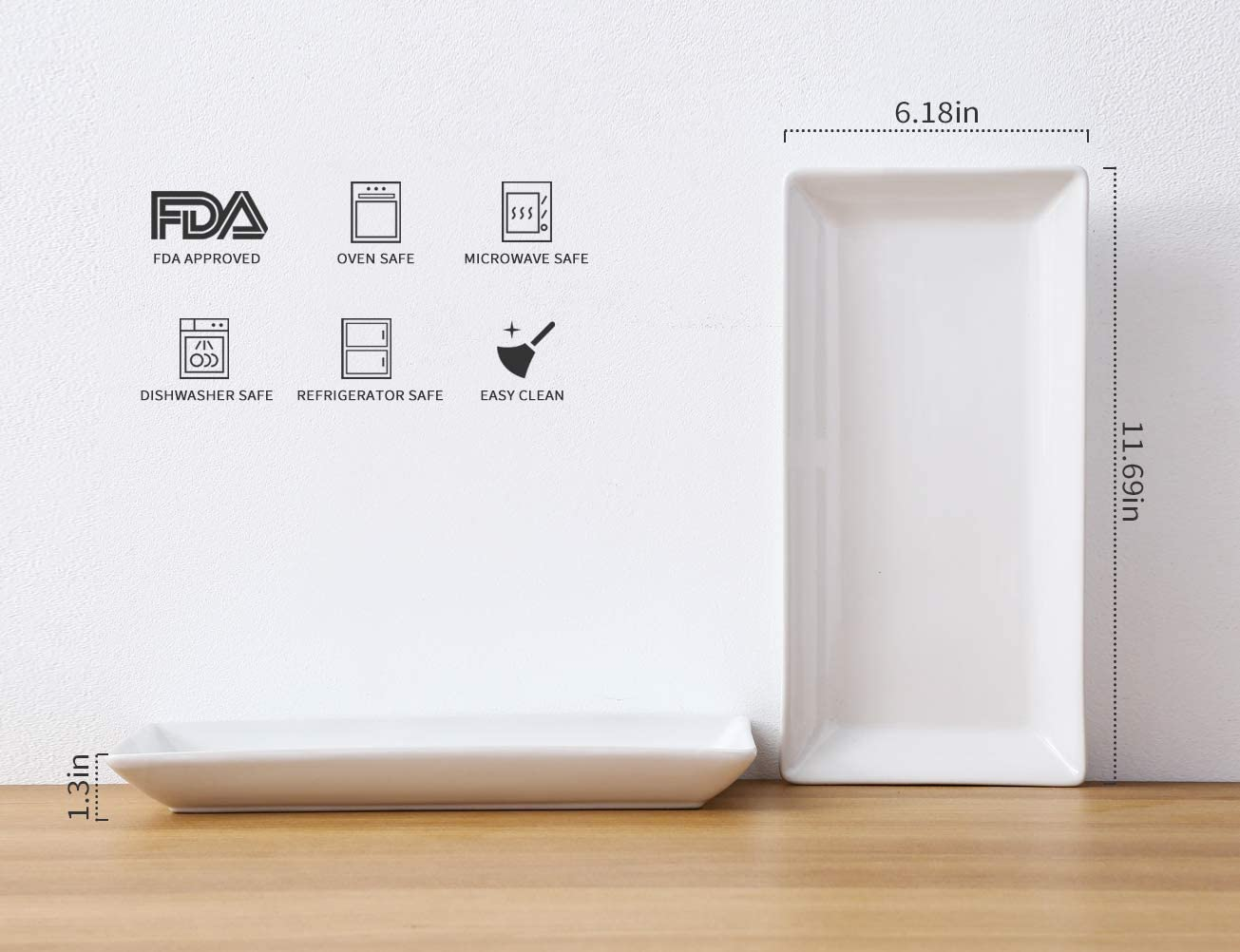 Amazon.com: Bandejas rectangulares de porcelana para fiestas ...